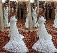 Mermaid V neck Open Back Lace Long Train Sexy Vintage Formal Wedding Dresses 2018 Fashion Wedding Gowns Custom Made YB04
