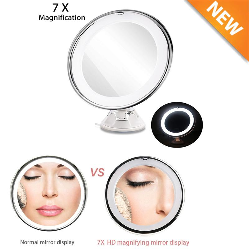 7x Magnification Adjustable Lighted LED Makeup Mirror Bathroom Vanity Mirror Travel Mirror with Strong Suction Cup
