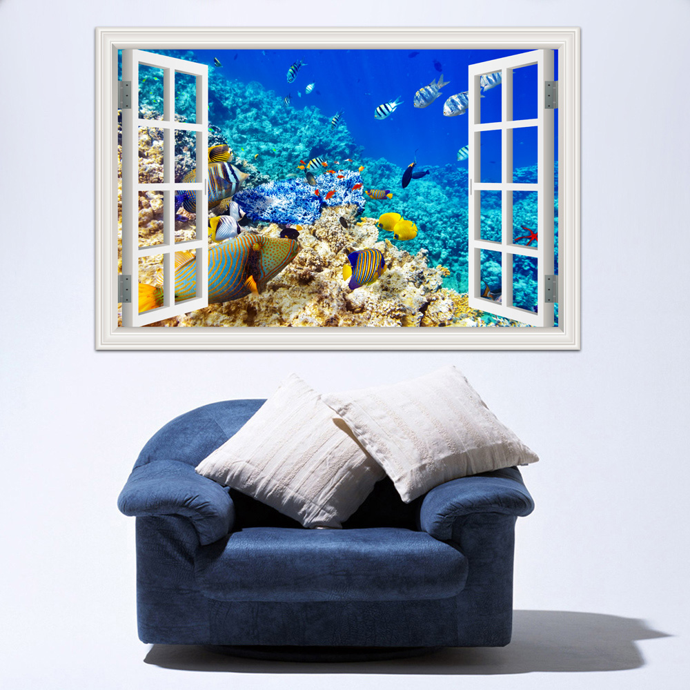 3d new wall sticker removable underwater world fish decals - Removable wall stickers living room ...