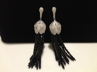 Black Crystal Earring Hanging Tassels Flower Long Earring Trendy Women Jewelry