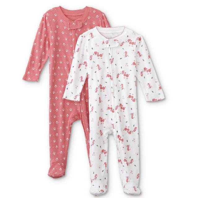 ab35fc2f040d Infant Girls 2 Pack Footed Romper Newborn Baby Clothes Babies ...