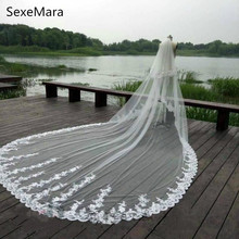 Luxury High Quality Two Layer Bridal Veils Lace Appliqued 3m Long Cathedral Length White Ivory Wedding Veil With Comb