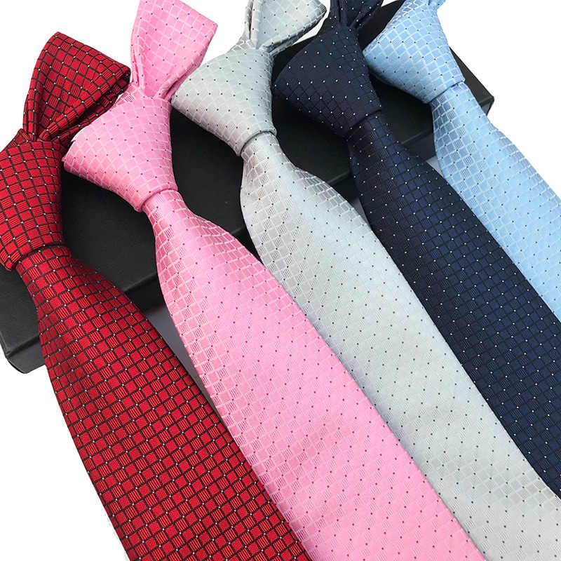 8cm 체크 옐로우 베이지 자카드 직물 100% 실크 넥타이 망 넥타이 플로랄 격자 무늬 스트라이프 넥타이 남성용 웨딩 정장 비즈니스 파티