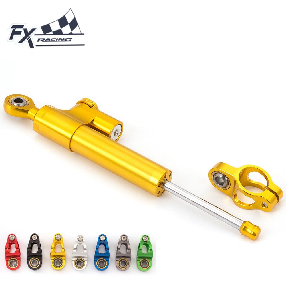 FX CNC Universal Aluminum Motorcycle Damper Steering Stabilize Linear Reversed Safety Control For Suzuki GSXR 600 750 1000 1300 universal motorcycle olhins steering damper aluminum alloy steering damper stabilizer linear reversed safety control 5 colors
