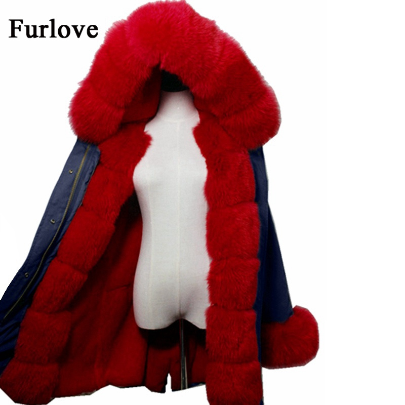 Thick Jackets Long Winter Jacket Women Real Fox Fur Collar Hooded Parkas Warm Natural Rabbit Fur Liner Parka Vintage Blue Coat real fox fur liner winter jacket women new long parka real fur coat big raccoon fur collar hooded parkas thick outerwear
