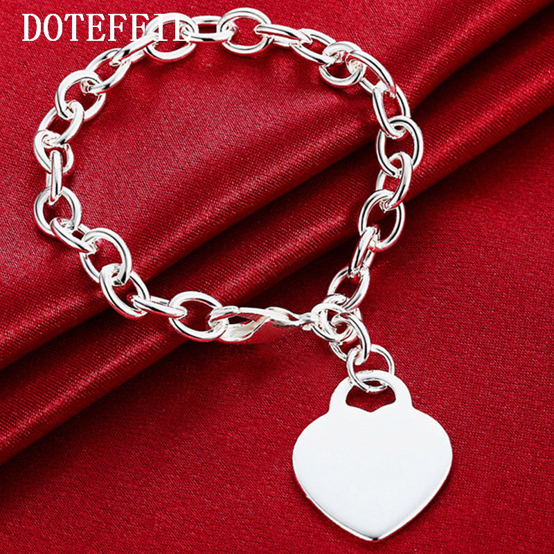 Luxury Brand 925 Silver Color Fashion Bracelet/Bangle Jewelry Trendy Women Heart Charm Bracelets Free Shipping