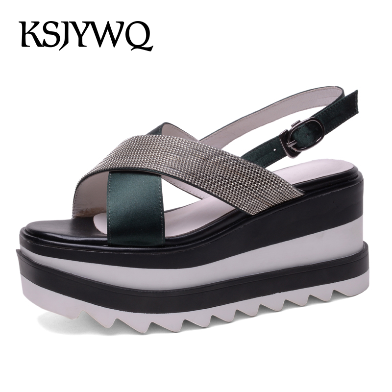 KSJYWQ Open-toe Women Platform Sandals 9 CM High Wedges Thick Soles Buckle Pumps Summer Style Party Woman Shoes Box Packing 6611 woman sandals 2018 summer women concise bling open toe casual shoes woman fashion thick bottom wedges sandals