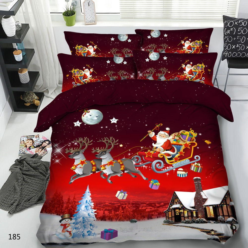 Royal Linen Source Brand 3 Parts Per Set Red background Santa delivering presents 3d Christmas bed set Christmas Children Bed