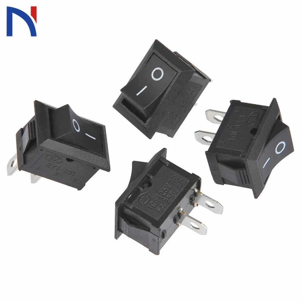 10/20 Pcs Saklar ON Off KCD1 15*21 Mm 2pin Kapal Tipe Switch 6A 250V 10A 125V 15X21 Rocker Switch Power Switch Hitam Baru