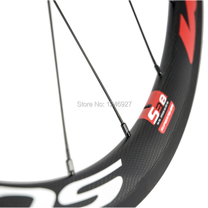 Superteam 38mm Clincher Carbon Wheel Red And White Decal Carbon