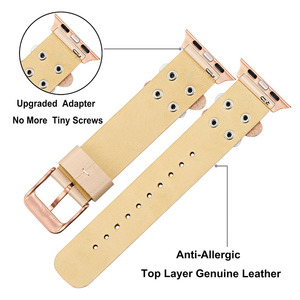 Image 4 - Bandream Women Leather Watchband for iWatch Apple Watch 5 4 3 2 1 44mm 40mm 42mm 38mm Wrist Band Female Strap Rose Gold Silver