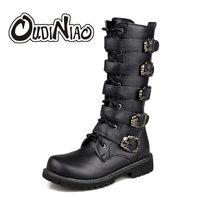 c0c4557d OUDINIAO армейские ботинки Для мужчин высокие военные армейские ботинки  металлической пряжкой панк до середины икры мужские мото.