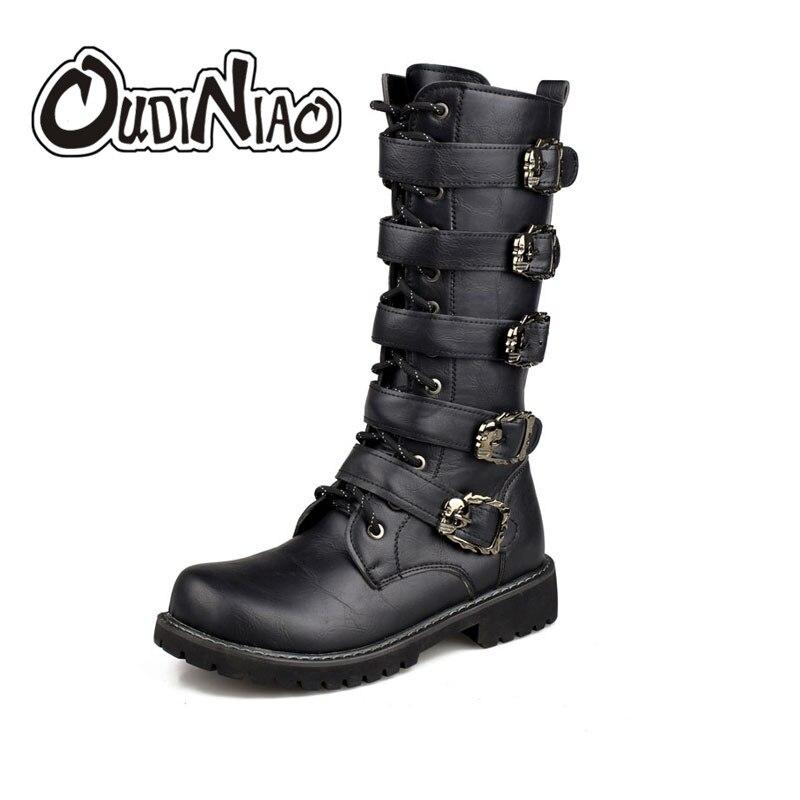 OUDINIAO армейские ботинки Для мужчин высокие военные армейские ботинки металлической пряжкой панк до середины икры мужские мотоботы на шнуро...