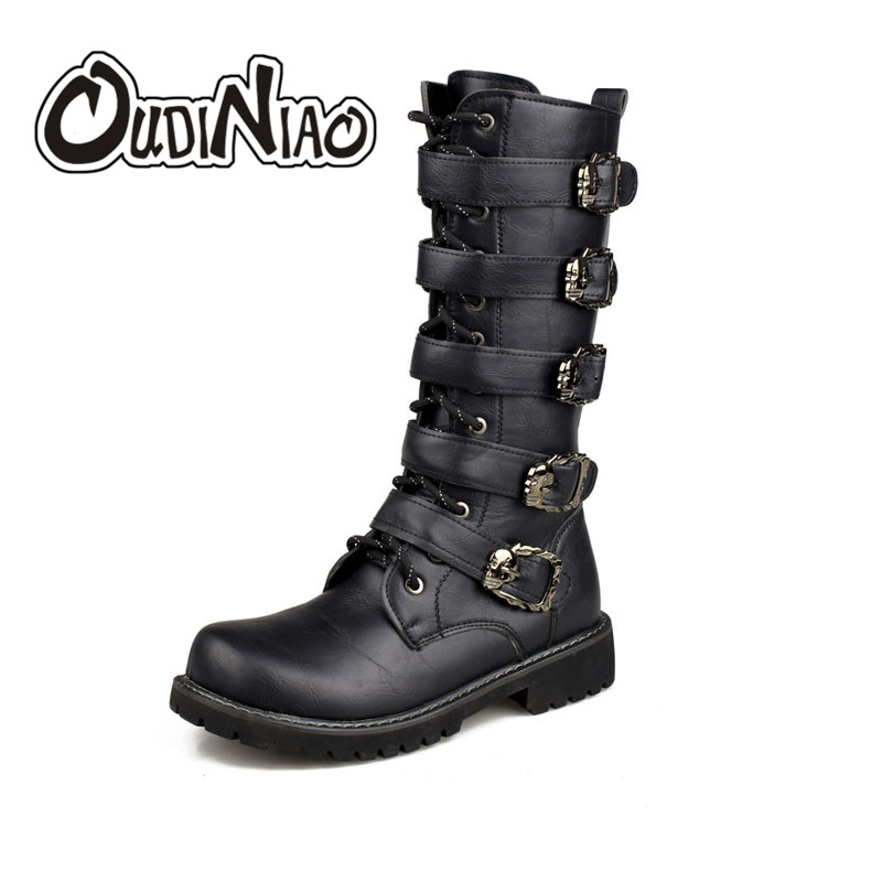 OUDINIAO Army Boots Men High Military Combat Boots Metal Buckle Punk Mid Calf Male Motorcycle Boots Lace Up Men's Shoes Rock lace up slouch mid calf boots