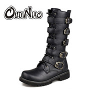 Army Boots Men Military Leather Combat Metal Buckle Male Motorcycle Punk Boots Men S Shoes Rock