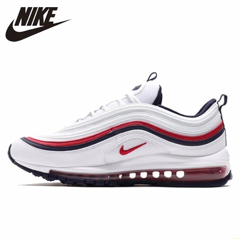 Nike officiel Air Max 97 blanc rouge balle hommes chaussures de course coussin d'air respirant sport baskets #921733-102