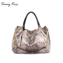 Tonny Kizz big handbag women shoulder bags leather female tote with serpentine prints ladies snake print bag hobo
