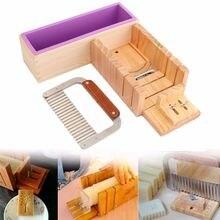 Holz Seife Loaf Bar Kuchen Cutter Box Wellenförmige Gerade Cutter Slicer DIY Seifenform Werkzeug Mit Silikonseifenform