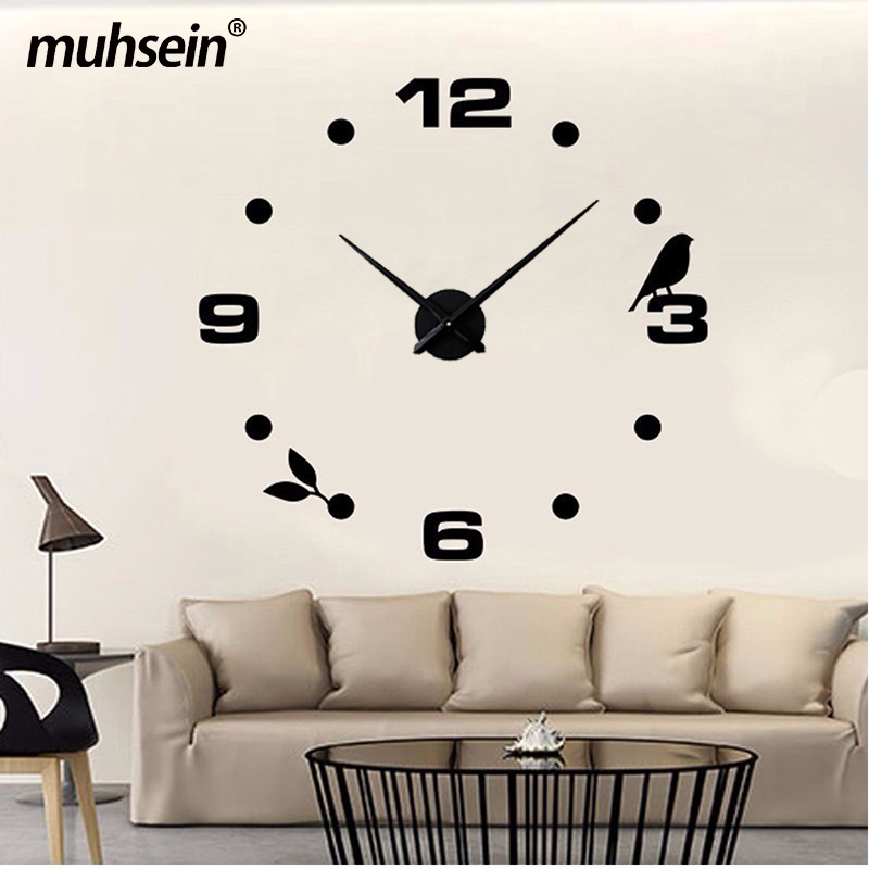 Muhsein Factory New Modern DIY Black Cat Bird Quartz Wall Clocks Home Decor Orologio Muro Livingroom Creative Watch Wall