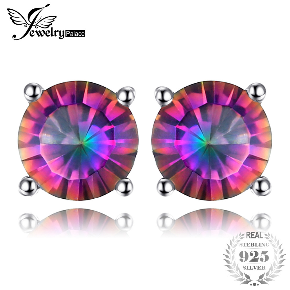 Фотография jewelrypalace 4ct genuine rainbow fire mystic topaz round concave stud earrings set for women solid 925 sterling silver luxury