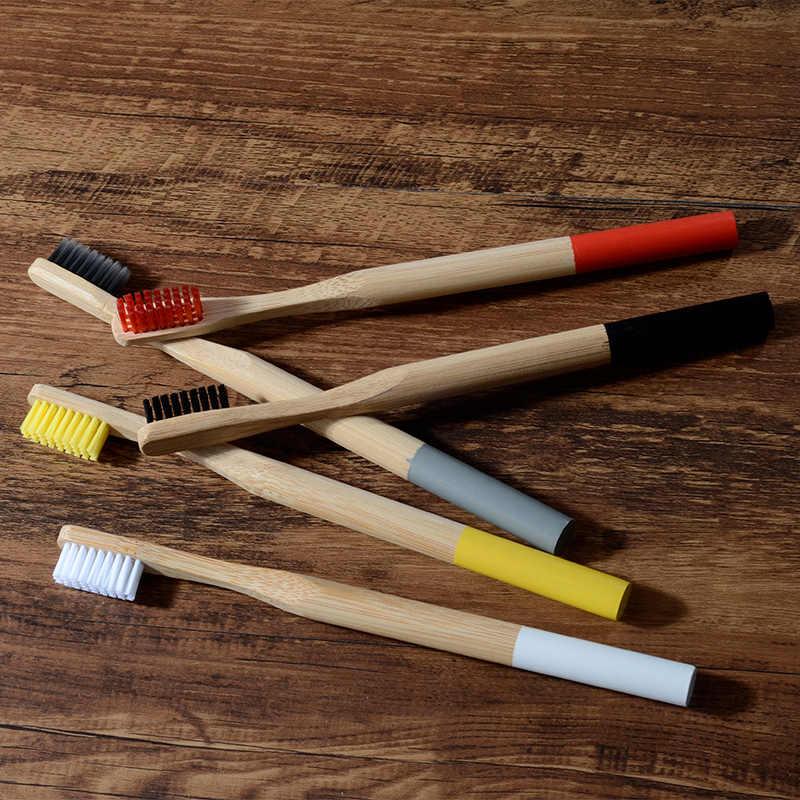 10-pack במבוק מברשת שיניים בינוני זיפים מתכלה פלסטיק-משלוח מברשות שיניים גלילי נמוך פחמן אקו במבוק ידית מברשת