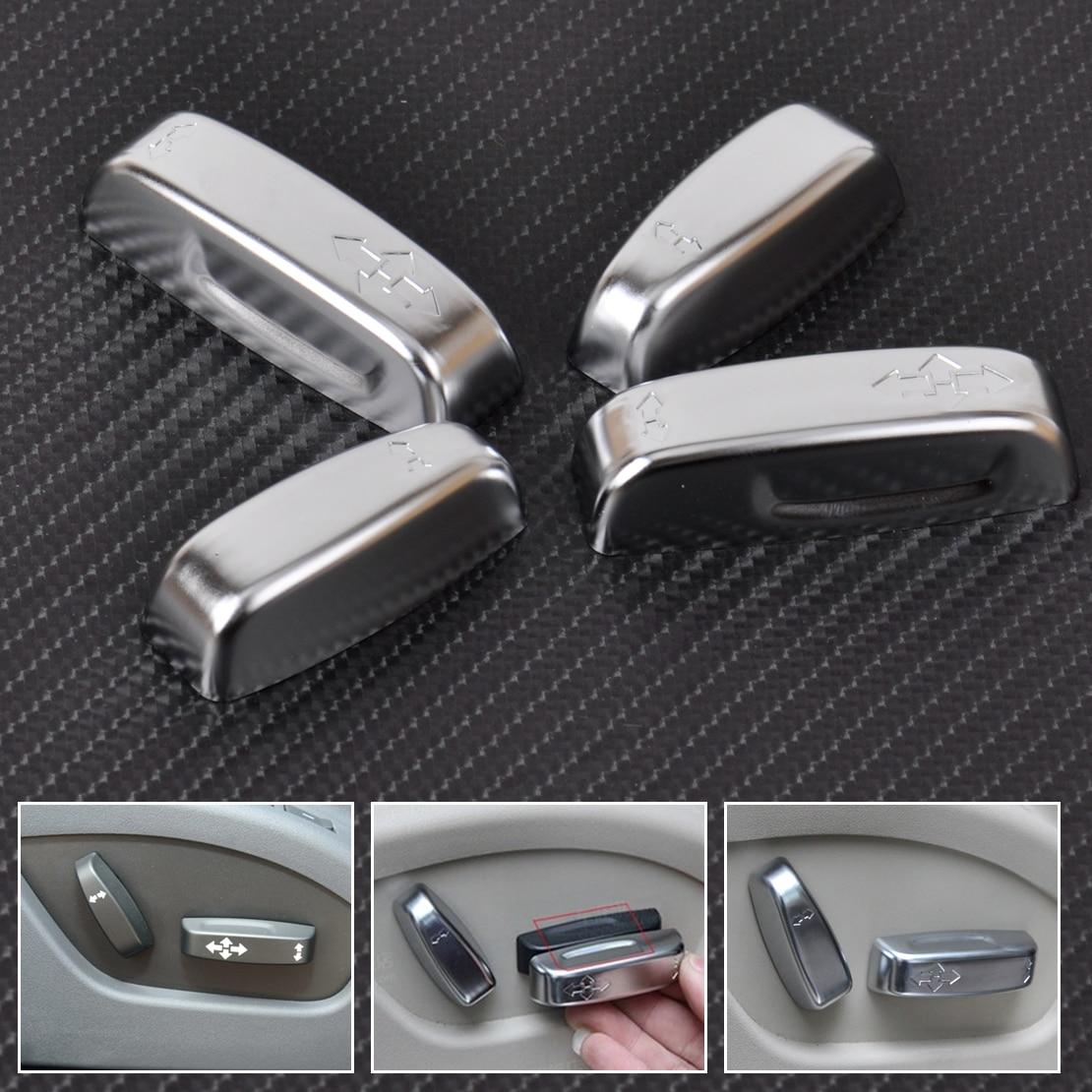 Beler 4 piezas nuevo cromo Interior interruptor de ajuste del asiento botón Botón cubierta Trim para Volvo XC60 XC70 V40 V60 S40 s60 C30 C70