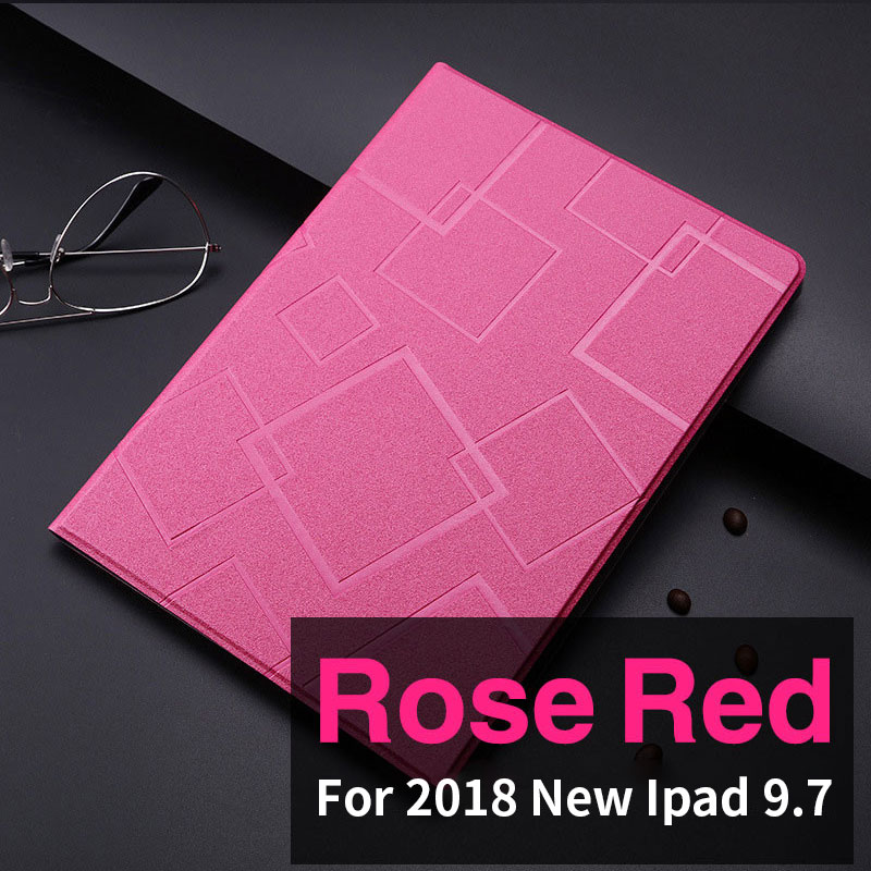 Rose Red Slim case with geometric pattern and 2stand for iPad 9.7 inch (2017, 2018)