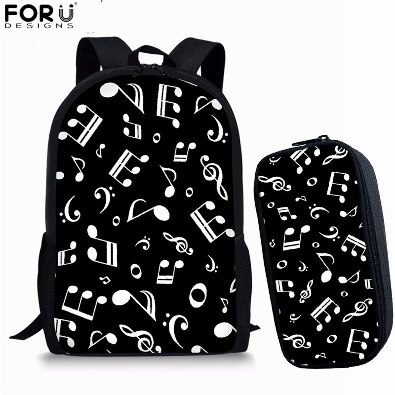 FORUDESIGNS School Bags For Teenage Girls Music Note Women Travel Backpack Girls School Bag Sets Drop Shipping Mochila Feminina