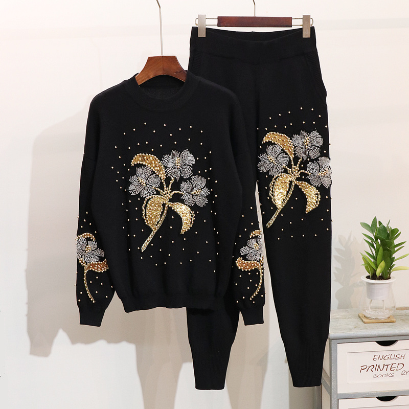Embroidery Flowers Women Fashion Pullover Tops Pants Suits Knitting 2pcs Sets Trousers Jumper Sweaters Spring Tracksuits