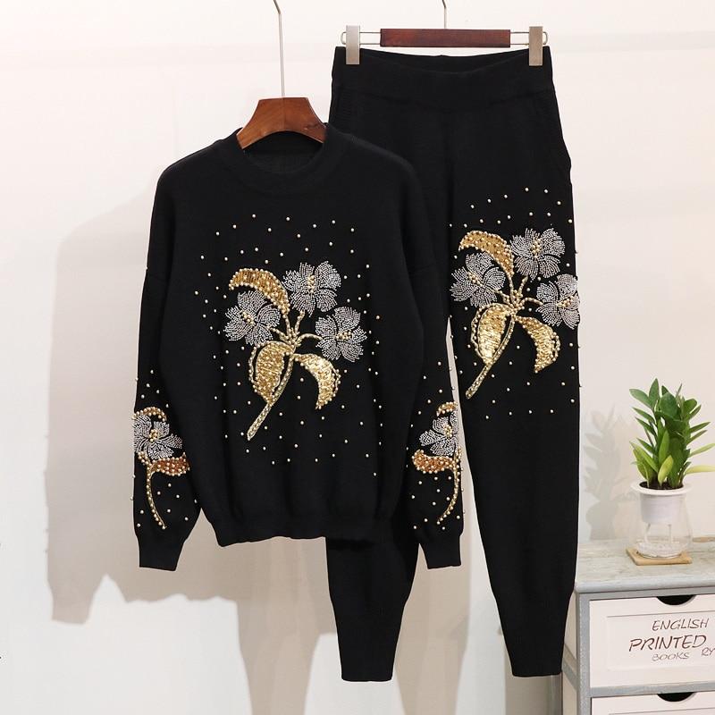 Haft kwiaty kobiety modna sweter topy spodnie garnitury dziewiarskie 2 sztuk zestawy spodnie Jumper swetry wiosna dresy kobiet w Zestawy damskie od Odzież damska na  Grupa 1