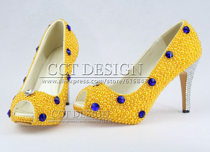 free shipping peep toe blue diamond and yellow pearls wedding bridal high heels shoes yellow evening party prom pumps in womens pumps from shoes on