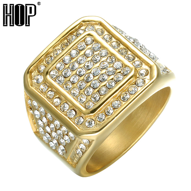 HIP Hop Bling Iced Out Square Crystal Ring Gold Color Stainless Steel Wedding Ri