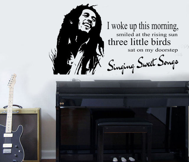 "D333 Bob Marley ""Three Little Birds"" Quote Wall Art ..."