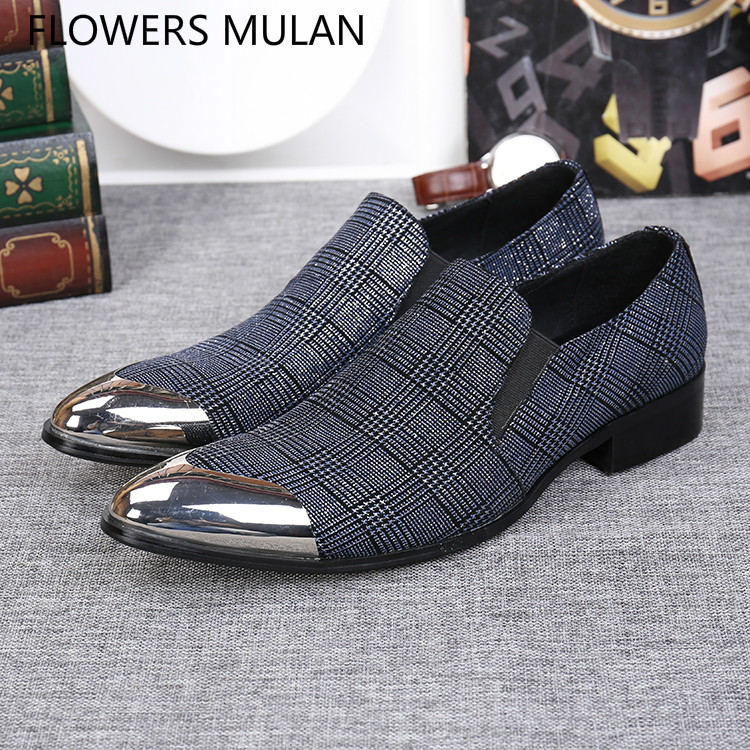 British Style Fashion Men Dress Shoes Silver Metal Pointed Toe Cool Male Wedding Shoes Checkered Leather Upper Slip On Footwear