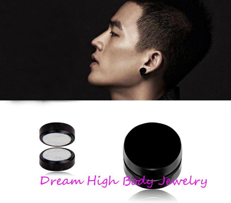 c4e9e25616d48 US $26.0 |Magnetic Earrings Black Titanium Steel Mens Women Trendy Round  Clip Ear Stud Magnet Magnetic Magic Unisex 6mm 7mm 8mm 10m 12-in Stud ...
