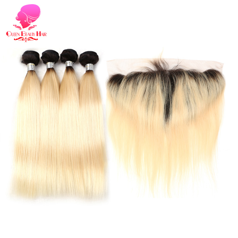 QUEEN 12 14 16 18 20 22 24 26 28 Inch Remy 1B 613 Ombre Blonde Malaysian Straight Human Hair 2/3/4 Bundle with Lace Frontal 13x6-in 3/4 Bundles with Closure from Hair Extensions & Wigs    1