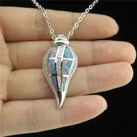 Glowcat q21a15 asil gümüş ton alaşım kadın okyanus plaj tema cz avustralya opal salyangoz kolye yaka choker 18