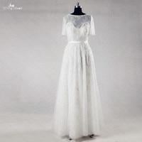 RSW980 Bohemian Style Short Sleeve Lace Beach Wedding Dress
