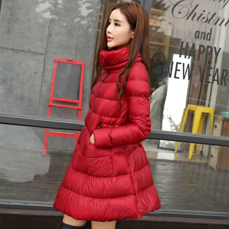 Autumn Winter Womens Ultra Lightweight   Down   Jacket Thick Stand Collar White Duck   Down     Coat   Female Puffer Skirt Cloak Outerwear
