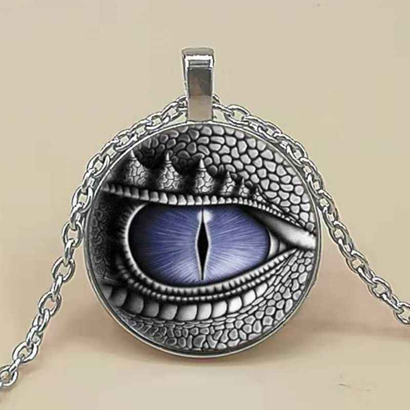 Dragon Eye Photo Tibet Silver Cabochon Glass Pendant Chain Necklace