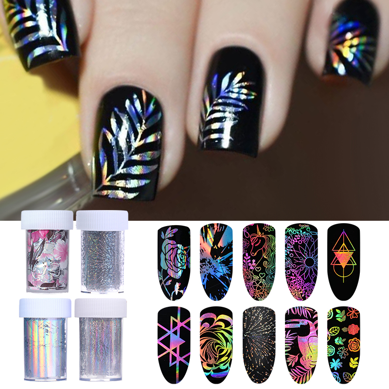 1pc Holographic Nail Foils Starry Sky Glitter Foils Nail Art Transfer Sticker Paper Nail Wraps DIY Accessories