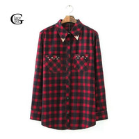 New Autumn And European Women Plaid Blouse Lapel Long Sleeve Cotton Shirts Red Black Grid With