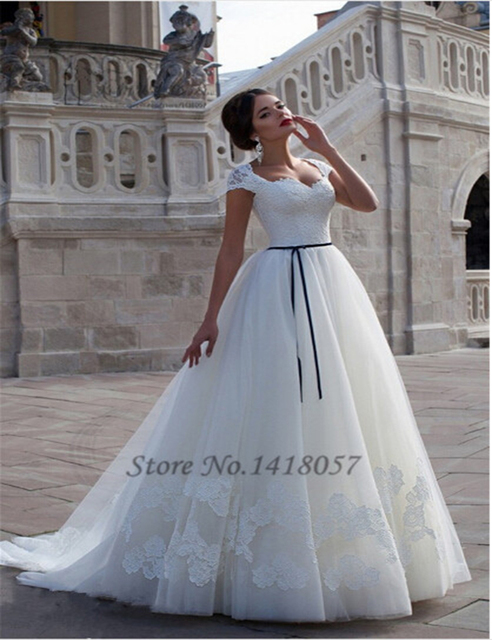 98ff143d5 Vestido de Casamento Plus Size Lace Wedding Dress Cap Sleeve Corset Back  Ribbons Ball Gown Bridal