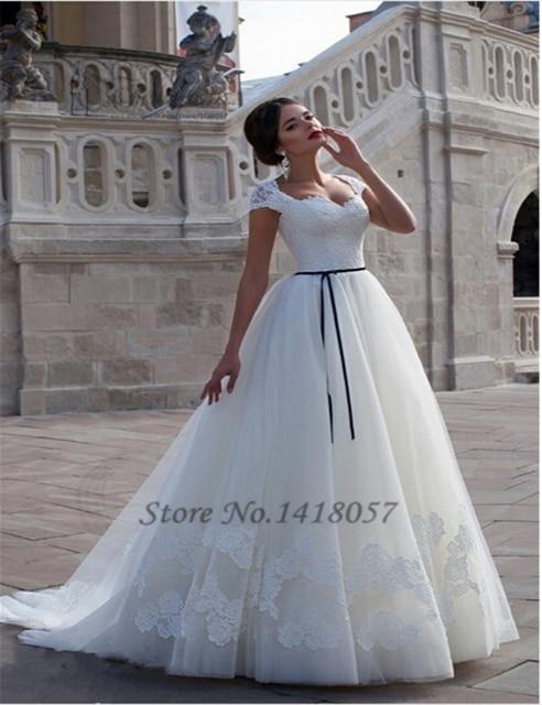 a18ec2aad90 Vestido de Casamento Plus Size Lace Wedding Dress Cap Sleeve Corset Back  Ribbons Ball Gown Bridal