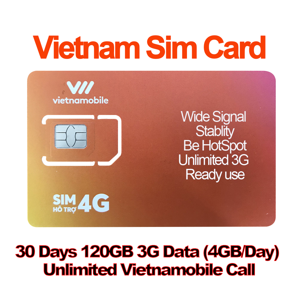 Mewfi Vietnam Travel Sim Card 30 days 120GB 3G Data 4GB/Day+Unlimited Vietnamobile Call Local Vietnamobile Mobile Phone Sim CardMewfi Vietnam Travel Sim Card 30 days 120GB 3G Data 4GB/Day+Unlimited Vietnamobile Call Local Vietnamobile Mobile Phone Sim Card