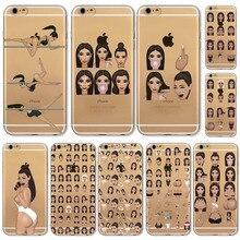 Novo! cara engraçada kimoji kim kardashian casos para iphone 5 5s se 5c 6 6 S 6 MAIS 6 SPlus 4 4S Limpar Ultrathin TPU Chorando Rosto Capa