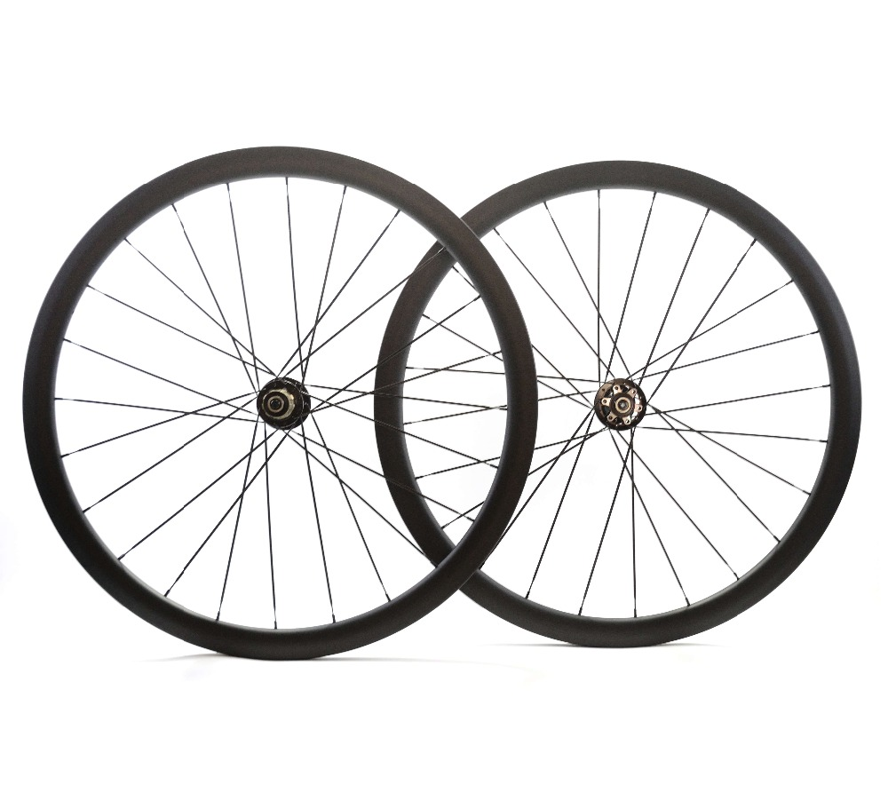 Road disc barke wheelset 38mm depth Clincher tubular Symmetric carbon rims 25mm width disc cyclocross bike
