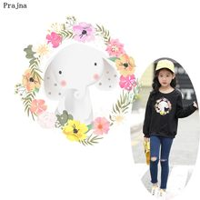 Prajna Flower Wreath Rabbits Heat Transfers For Clothing Princess Iron On Patches For Jeans DIY Cartoon Baby Dress Accessories(China)