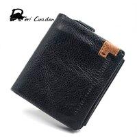 DERI CUZDAN Genuine Leather Organizer Wallets Brand Vintage Cowhide Leather Short Bifold Black Men S Wallet