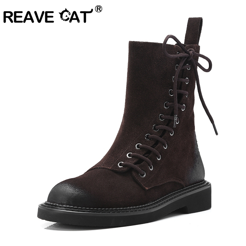 REAVE CAT Plus size 34 43 Shoes women low heel Ankle boots winter warm Round toe